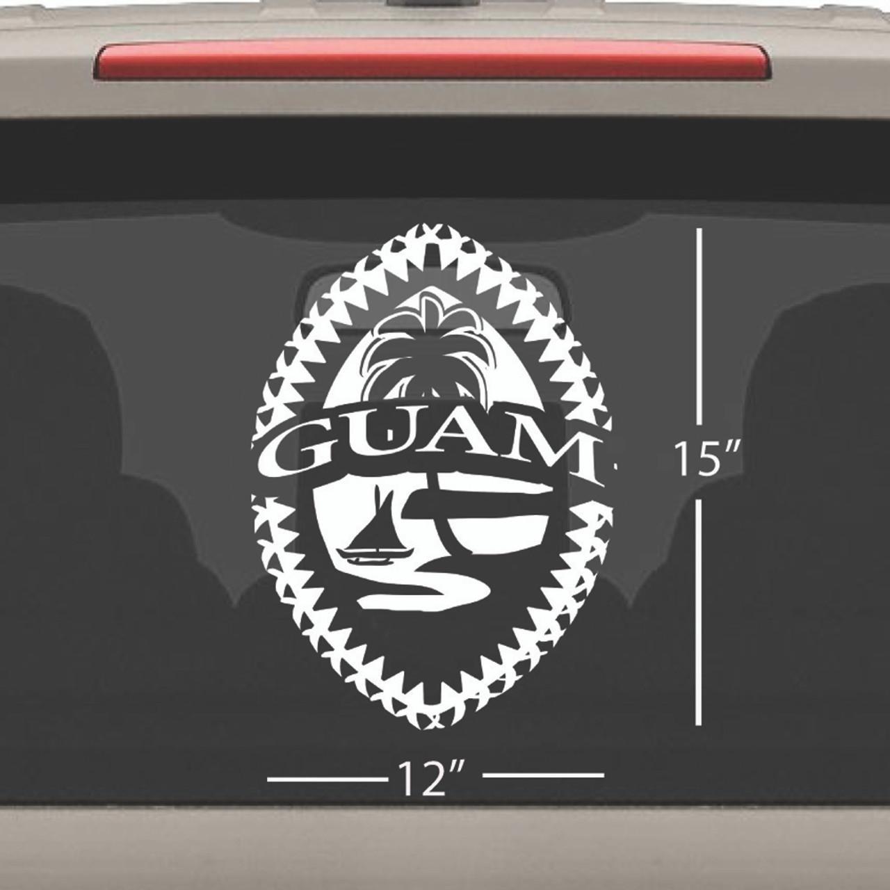 Mega Tribal Guam Seal Single Vinyl Decal 12x15 Inches