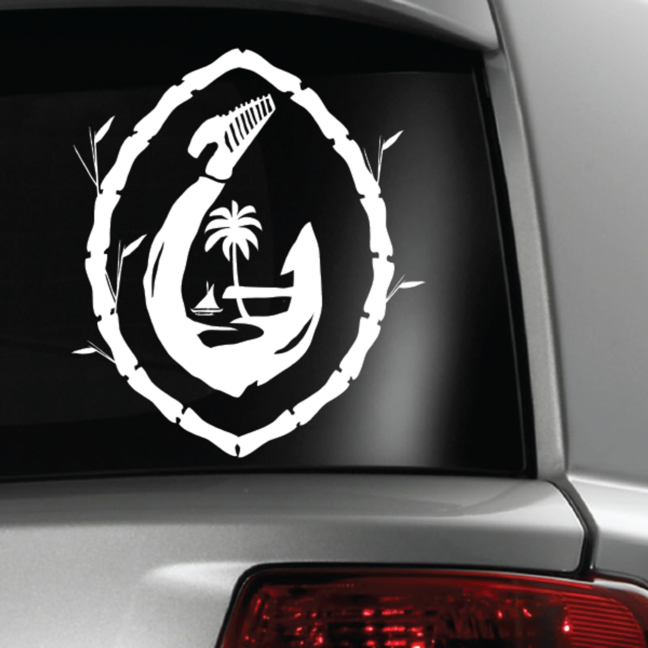 Guam Seal Fish Hook Bamboo White Sticker Decal
