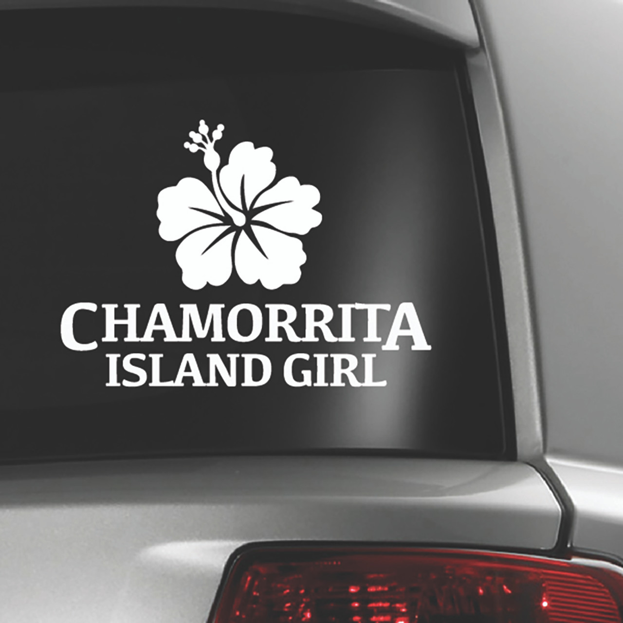 Hibiscus Chamorrita Island Girl White Sticker Decal