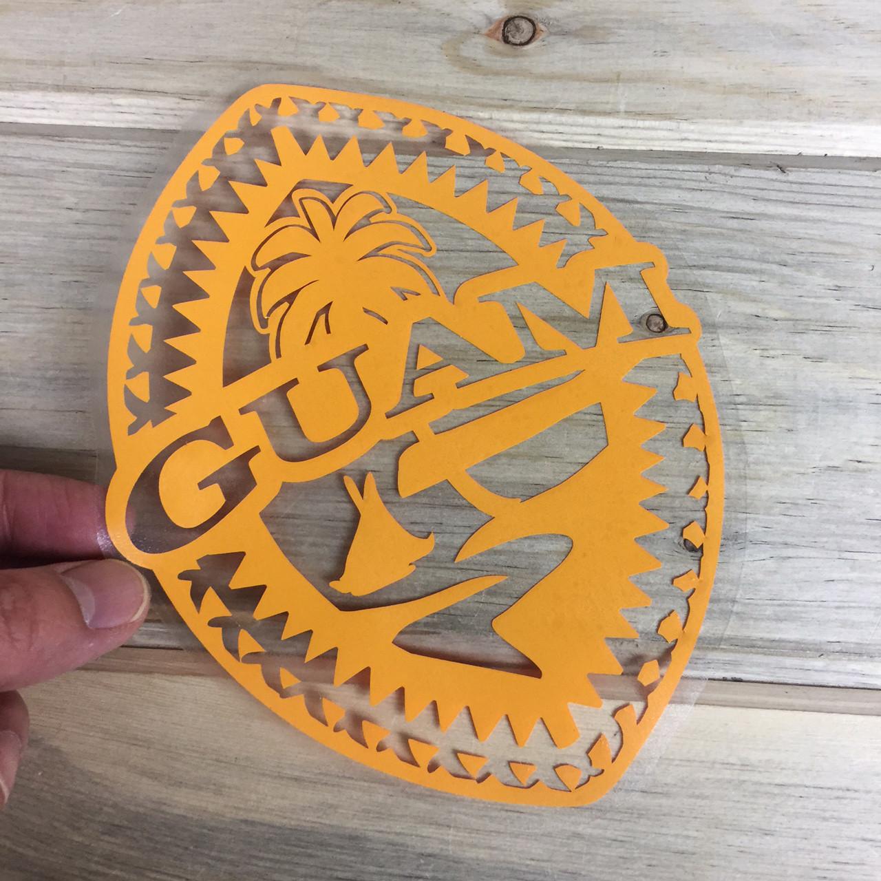 Tribal Guam Seal Yellow Vinyl Decal 6x8