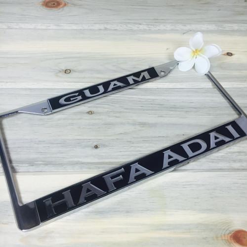 Balate Black Hafa Adai Guam Chrome License Plate Frame