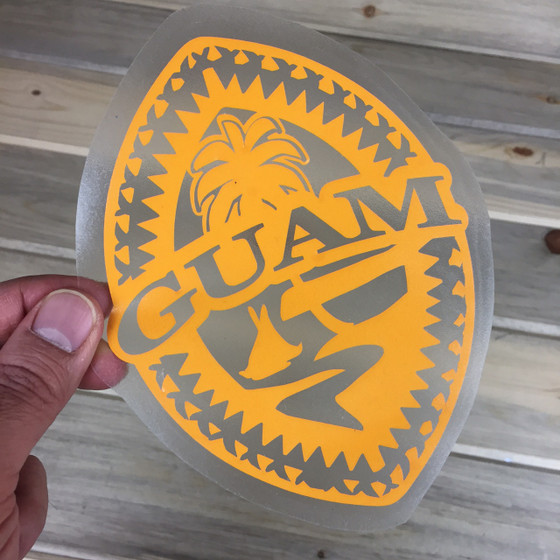 Tribal Guam Seal Yellow Vinyl Decal 5x6