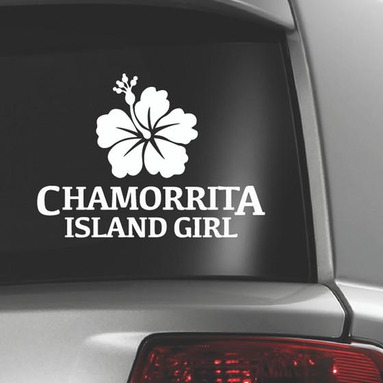Hibiscus Chamorrita Island Girl White Sticker Decal