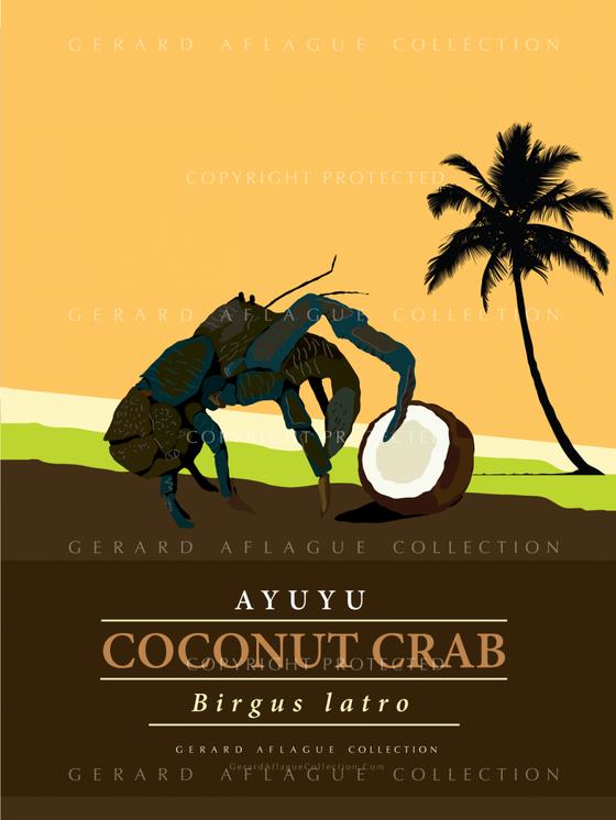 Guam Gift Guam Art Coconut Crab Illustration Gerard