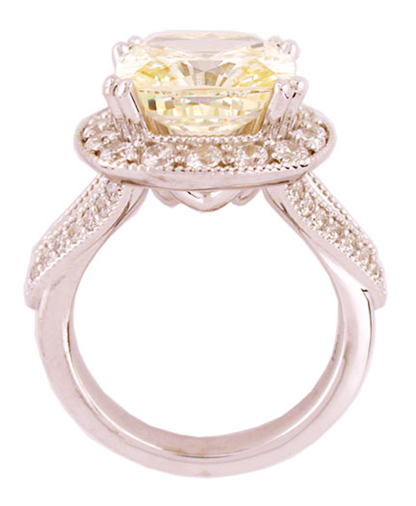 6.00Ct/6.78 TCW Cushion Cut Canary Halo Set in 14Kt White Gold