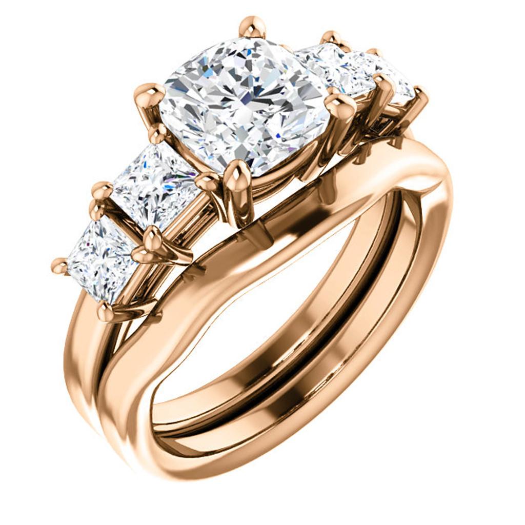 Beautiful 2 Carat Cushion Cut Cubic Zirconia Wedding Set in Solid 14 Karat Pink Gold