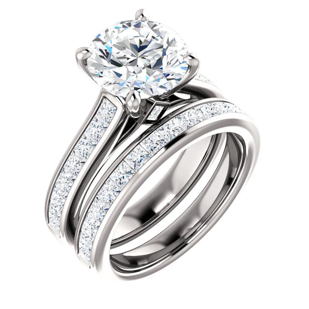 Brilliant 3 Carat Round Cubic Zirconia Channel Set Engagement Ring & Matching Wedding Band in Solid 14 Karat White Gold
