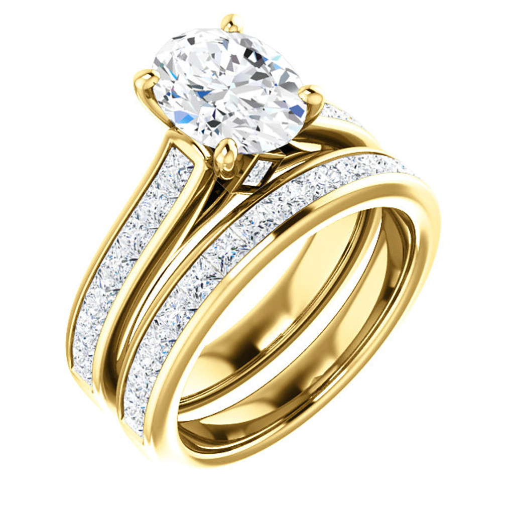 Hand Cut & Polished Oval Cubic Zirconia Channel Set Engagement Ring & Matching Band in Solid 14 Karat Yellow Gold