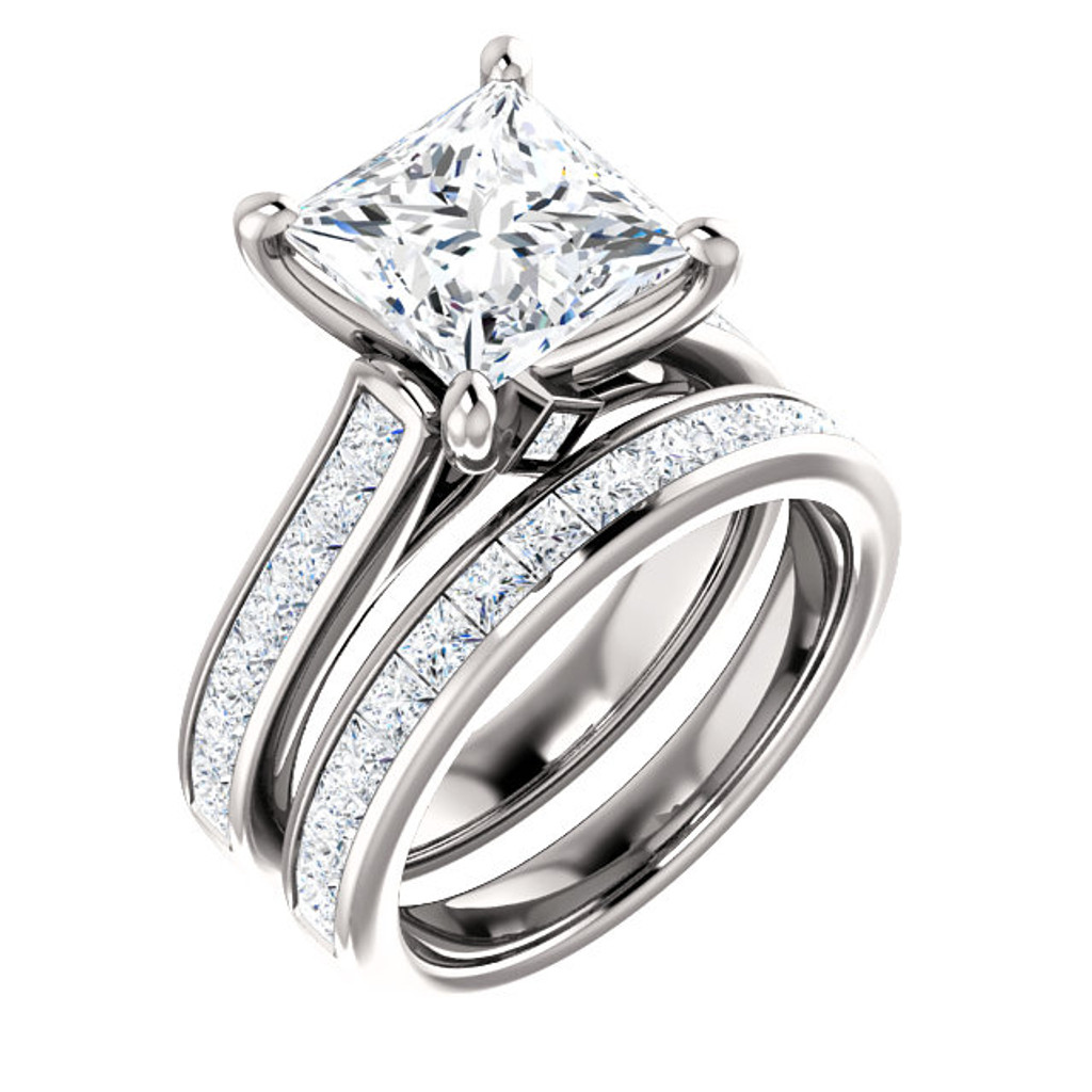 Hand Cut & Polished 3 Carat Princess Cut Cubic Zirconia Wedding Set in Solid 14 Karat White Gold