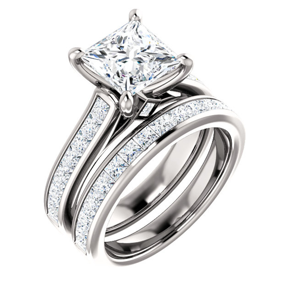 Brilliant 2 Carat Princess Cut Cubic Zirconia Channel Set Engagement Ring & Matching Band in Solid 14 Karat White Gold