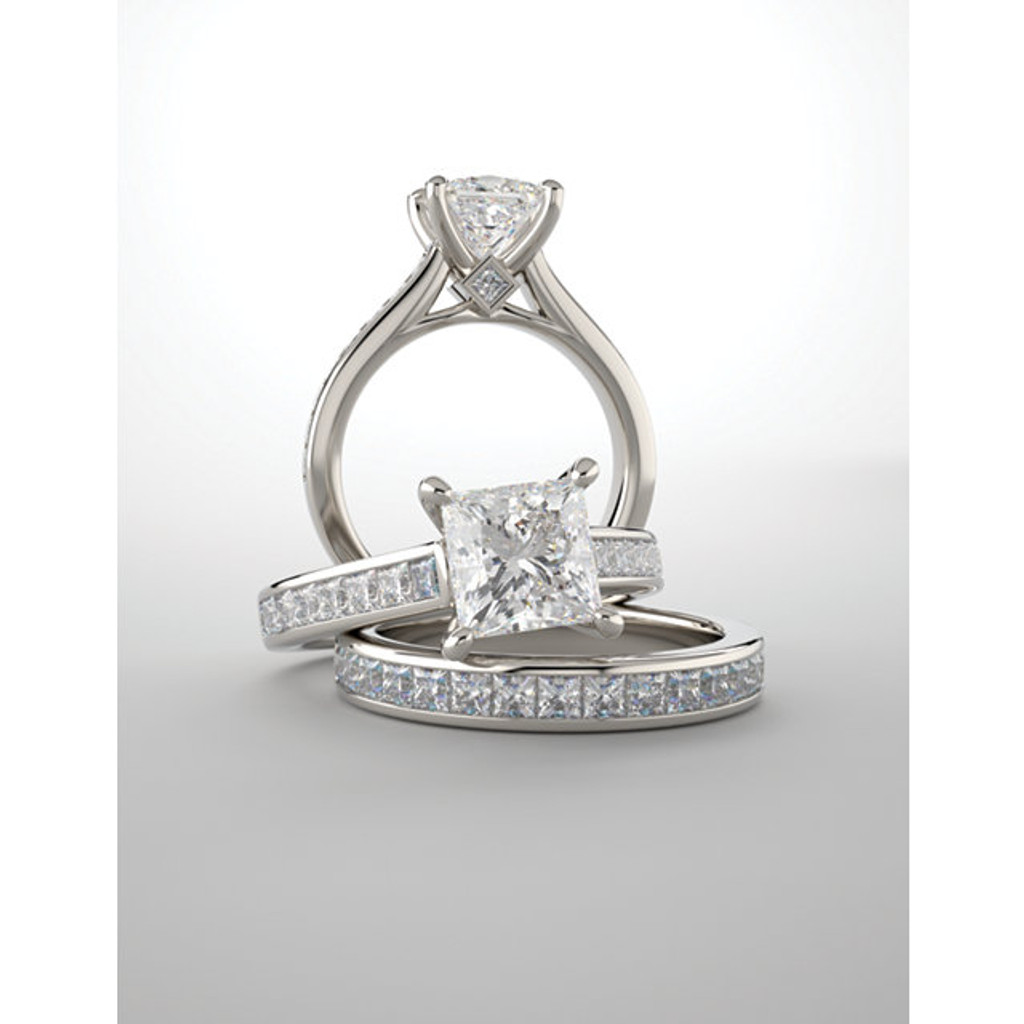 Beautiful Hand Cut & Polished Cubic Zirconia Hidden Stone Wedding Set in Solid 14 Karat White Gold