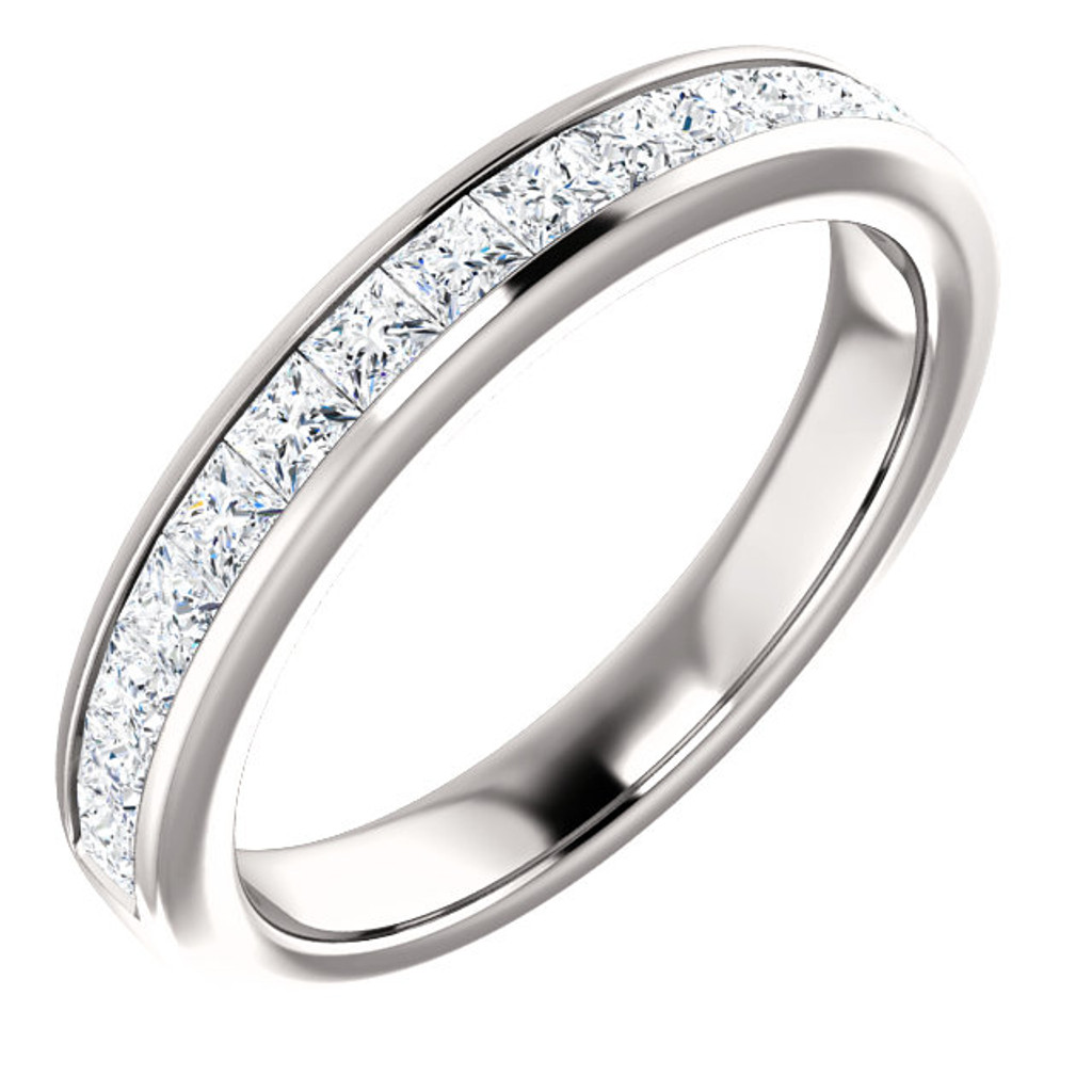 Matching Solid 14 Karat White Gold Half Eternity Band