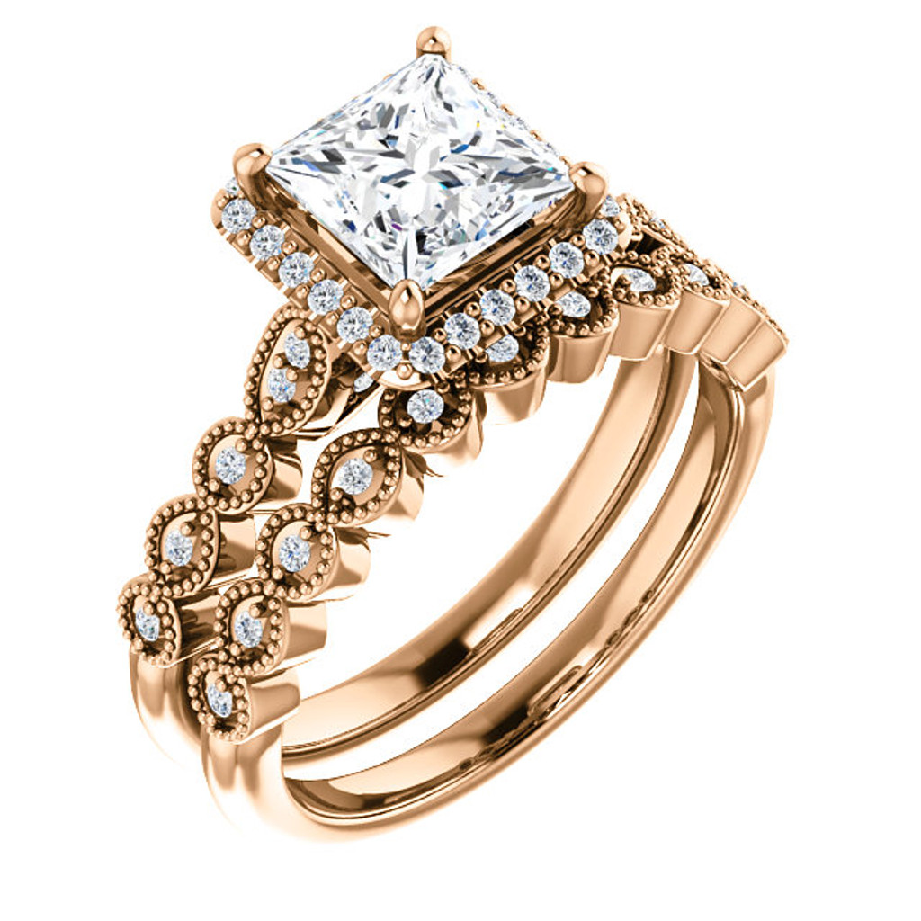 Brilliant 1 Carat Princess Cut CZ Wedding Set in Solid 14 Karat Rose Gold