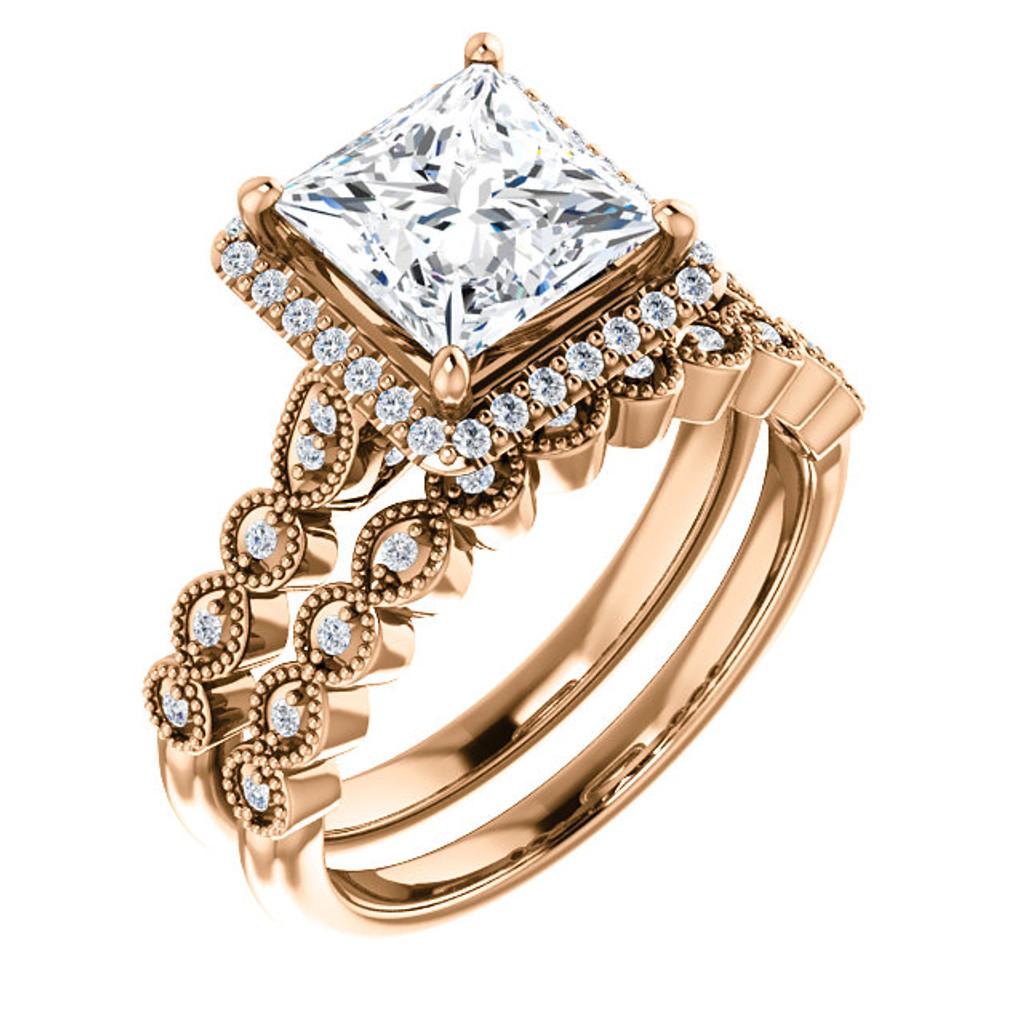 Flawless 2 Carat Princess Cut Wedding Set in Solid 14 Karat Rose Gold