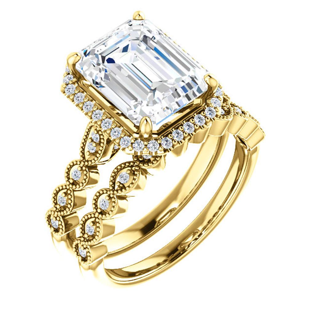 Flawless 3 Carat Emerald Cut Cubic Zirconia Halo Wedding Set in Solid 14 Karat Yellow Gold
