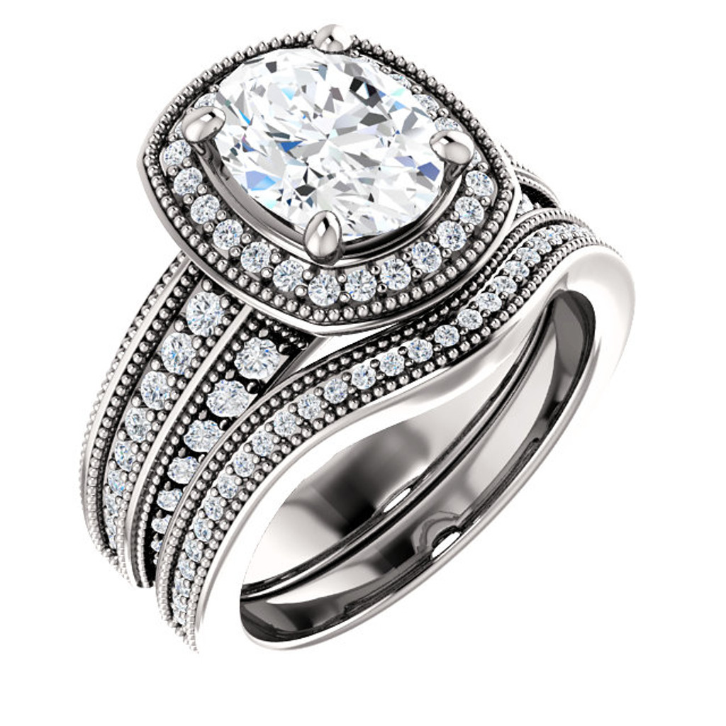 Hand Cut & Polished 2 Carat Oval Cubic Zirconia Wedding Set in Heavy, Solid 14 Karat White Gold
