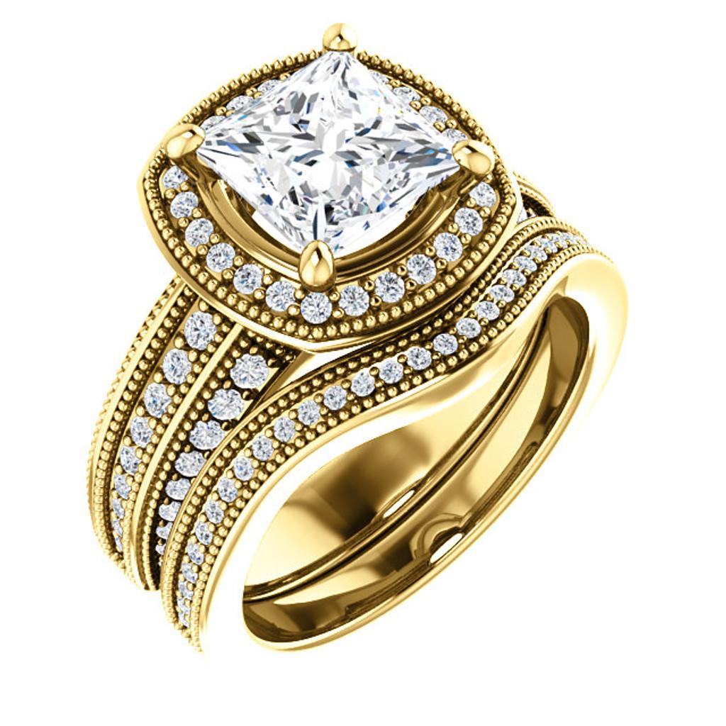 Beautiful 2 Carat Princess Cut Cubic Zirconia Wedding Set in Solid 14 Karat Yellow Gold