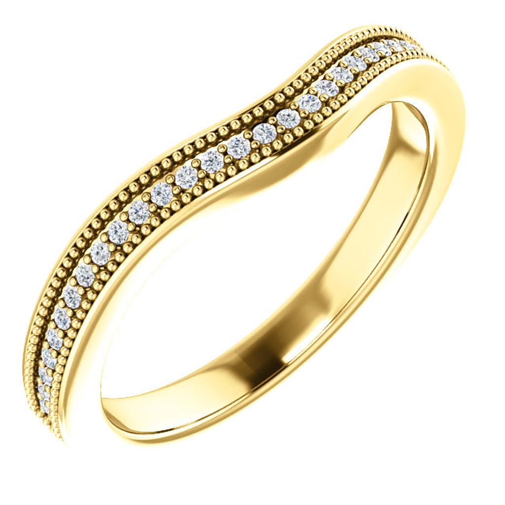 Beautiful Matching Band in Solid 14 Karat Yellow Gold
