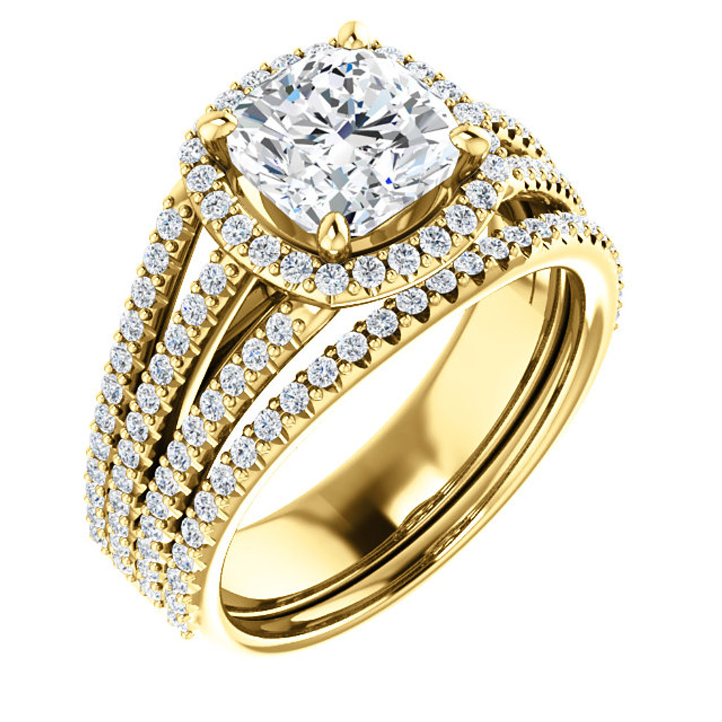 Gorgeous 2 Carat Cushion Cut Cubic Zirconia Halo Wedding Set in Solid 14 Karat Yellow Gold