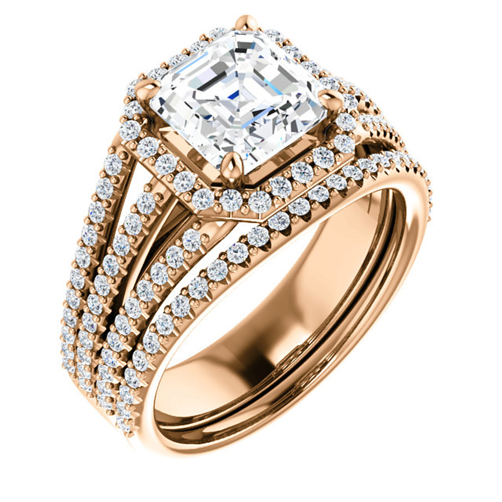 Flawless 2 Carat Asscher Cut Cubic Zirconia Halo Wedding Set in Solid 14 Karat Pink Gold