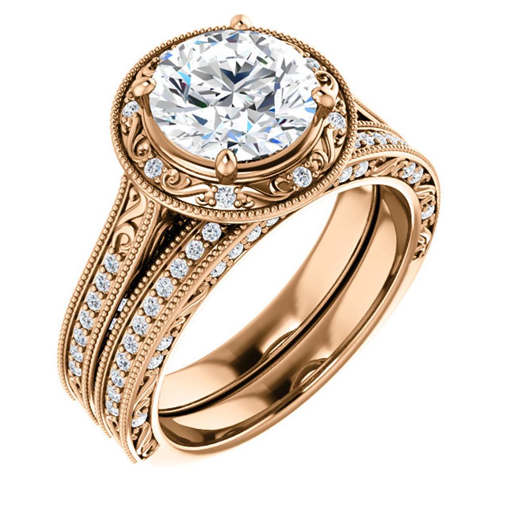Stunning 2 Carat Round Cubic Zirconia Wedding Set in Rose Gold