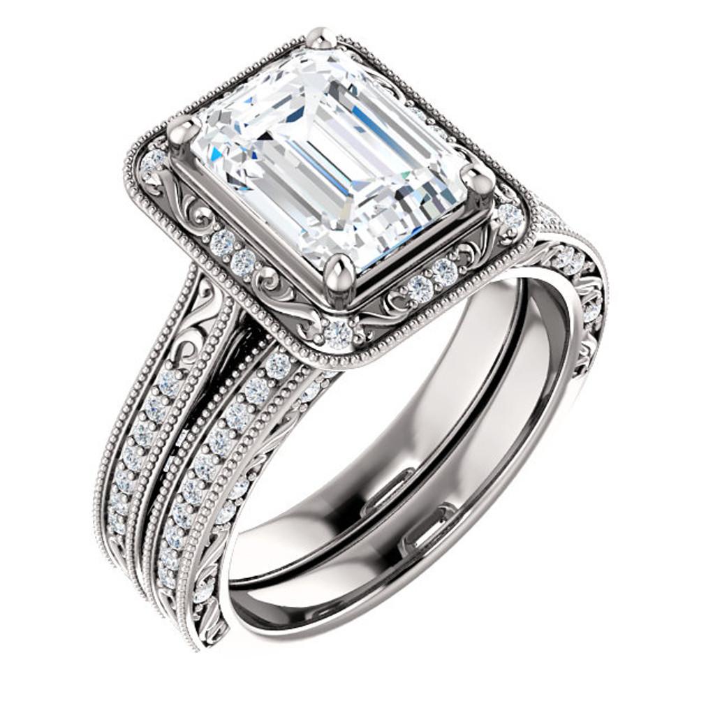 Flawless 2 Carat Hand Cut & Polished Cubic Zirconia Emerald Cut Halo Wedding Set in Solid 14 Karat White Gold