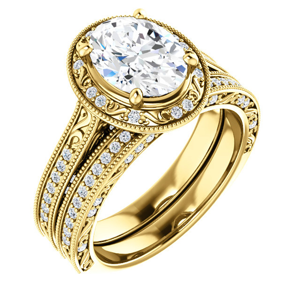 Lovely 2 Carat Oval Halo Wedding Set in Solid 14 Karat Yellow Gold