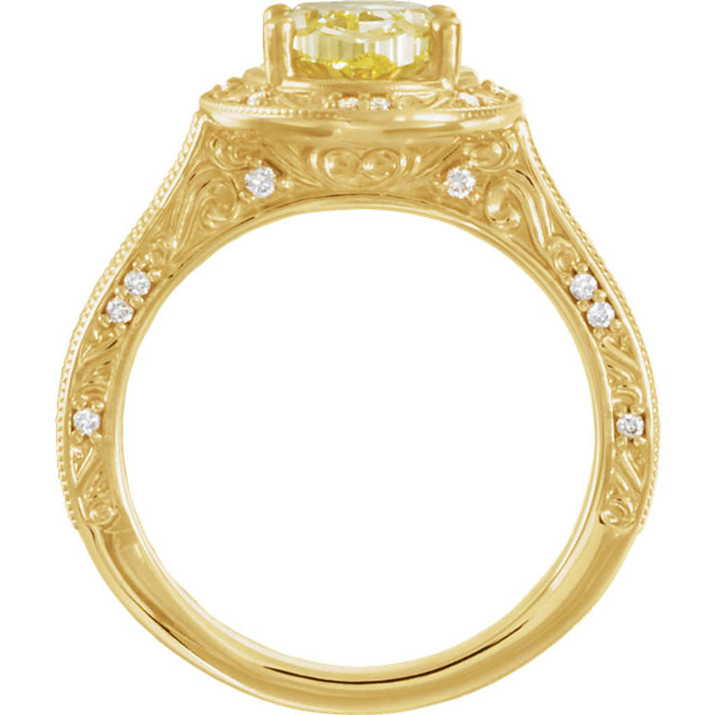 Stunning Custom Created 2 Carat Oval Canary Halo Engagement Ring In Solid 14 Karat Yellow Gold