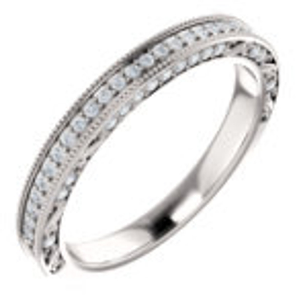 Hand Cut & Polished Cubic Zirconia Wedding Band in White Gold