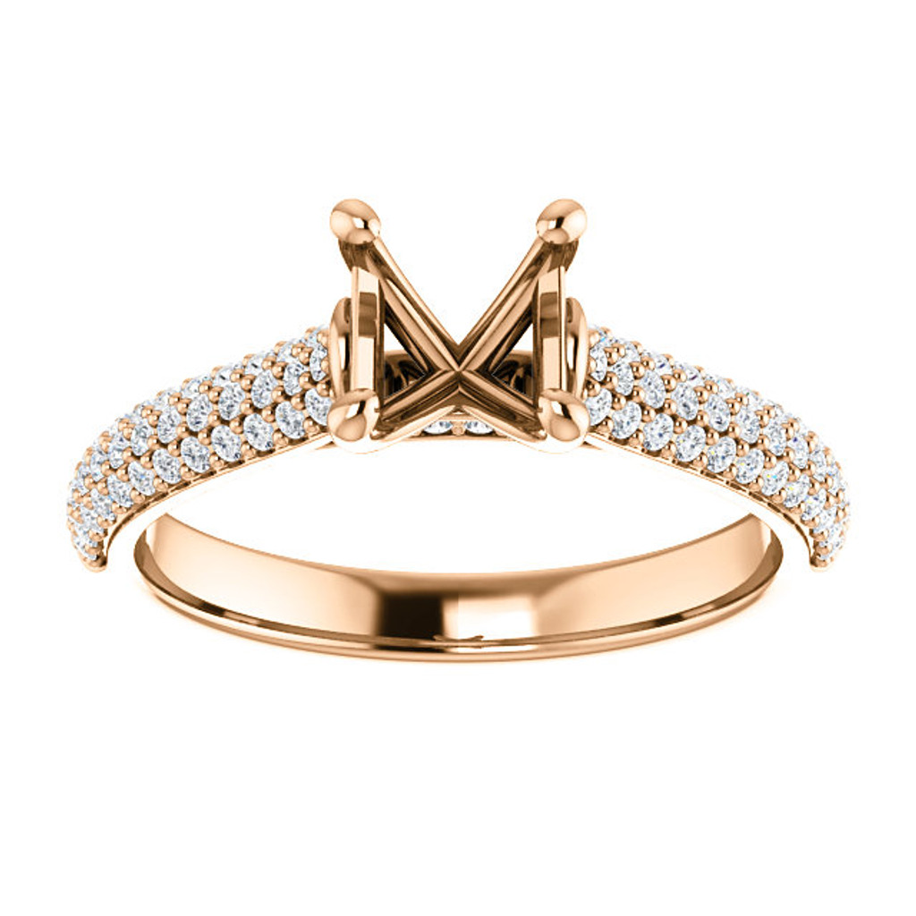 Customizable Pave' Engagement Ring in Solid 14 Karat Rose Gold