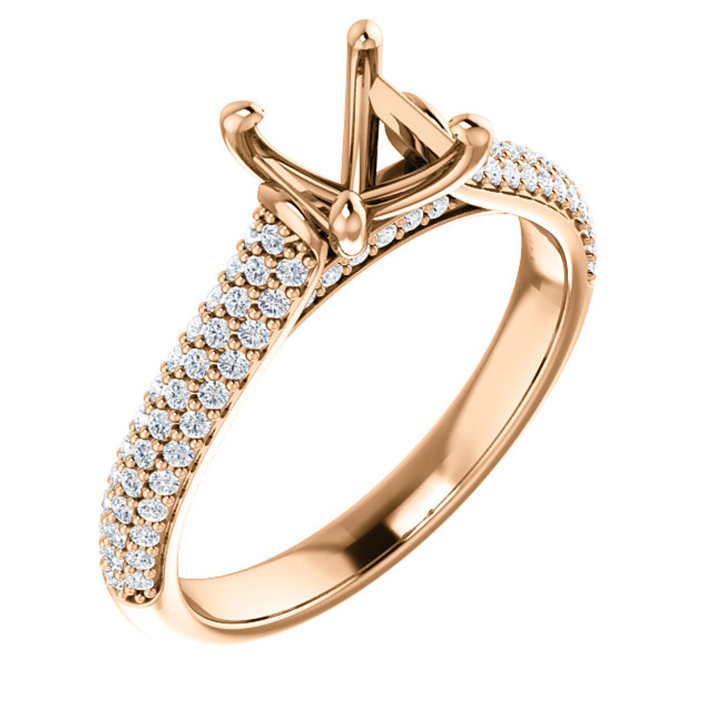 Beautiful Pave' Cubic Zirconia Engagement Ring in Solid 14 Karat Rose Gold With Your Choice of Center Stone