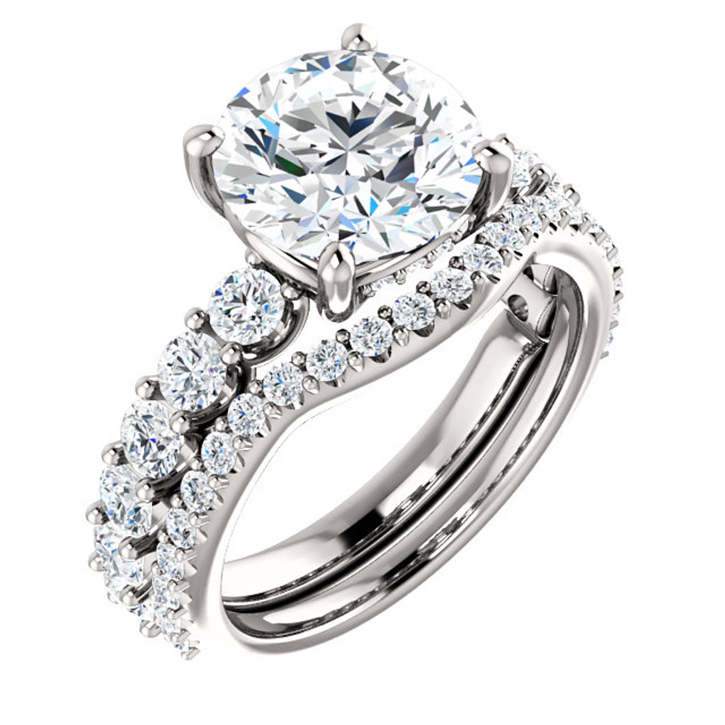 Highest Quality 3 Carat Round Cubic Zirconia Engagement Ring & Matching Band in Solid 14 Karat White Gold