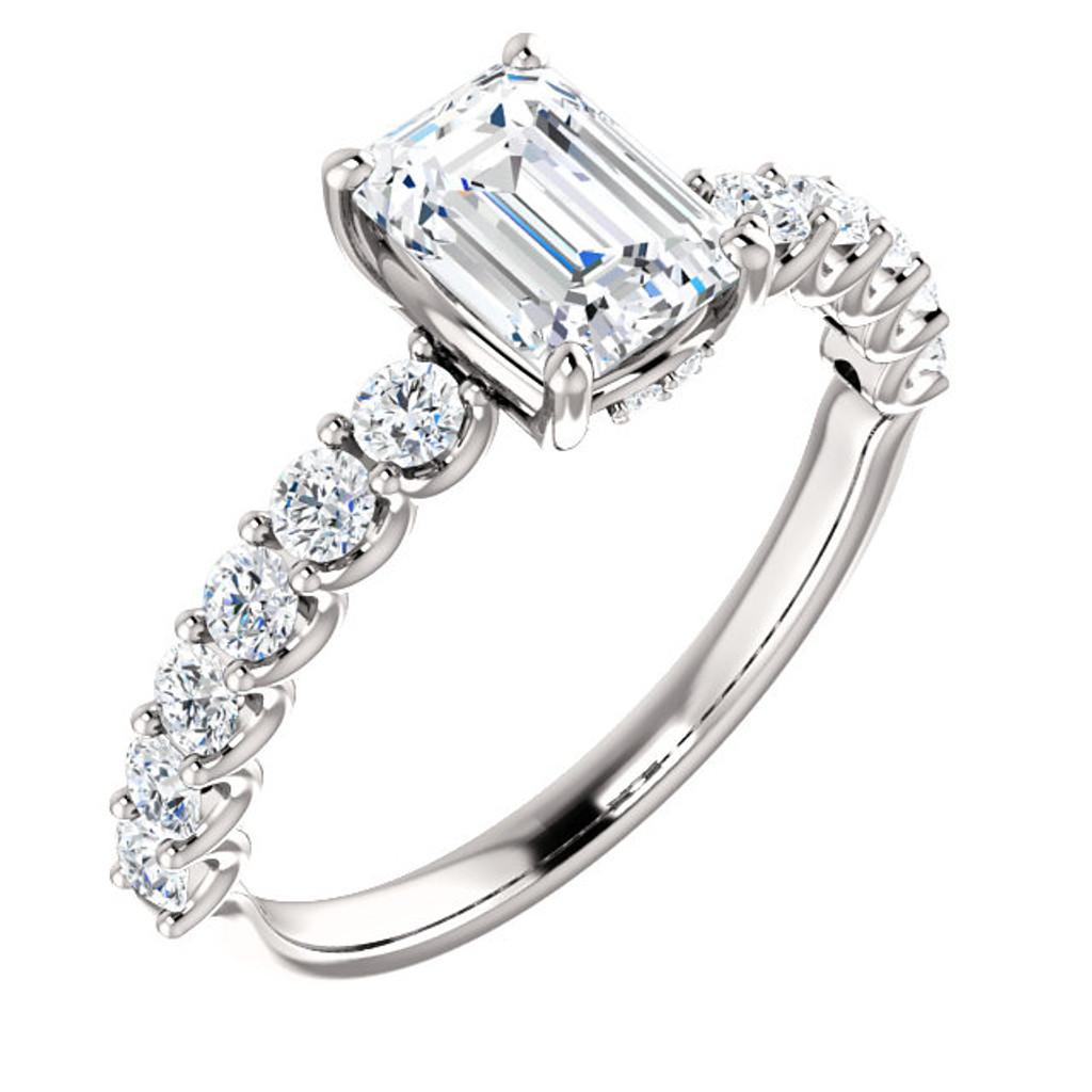 Beautiful 1 Carat Emerald Cut Cubic Zirconia Engagement Ring in Solid 14 Karat White Gold