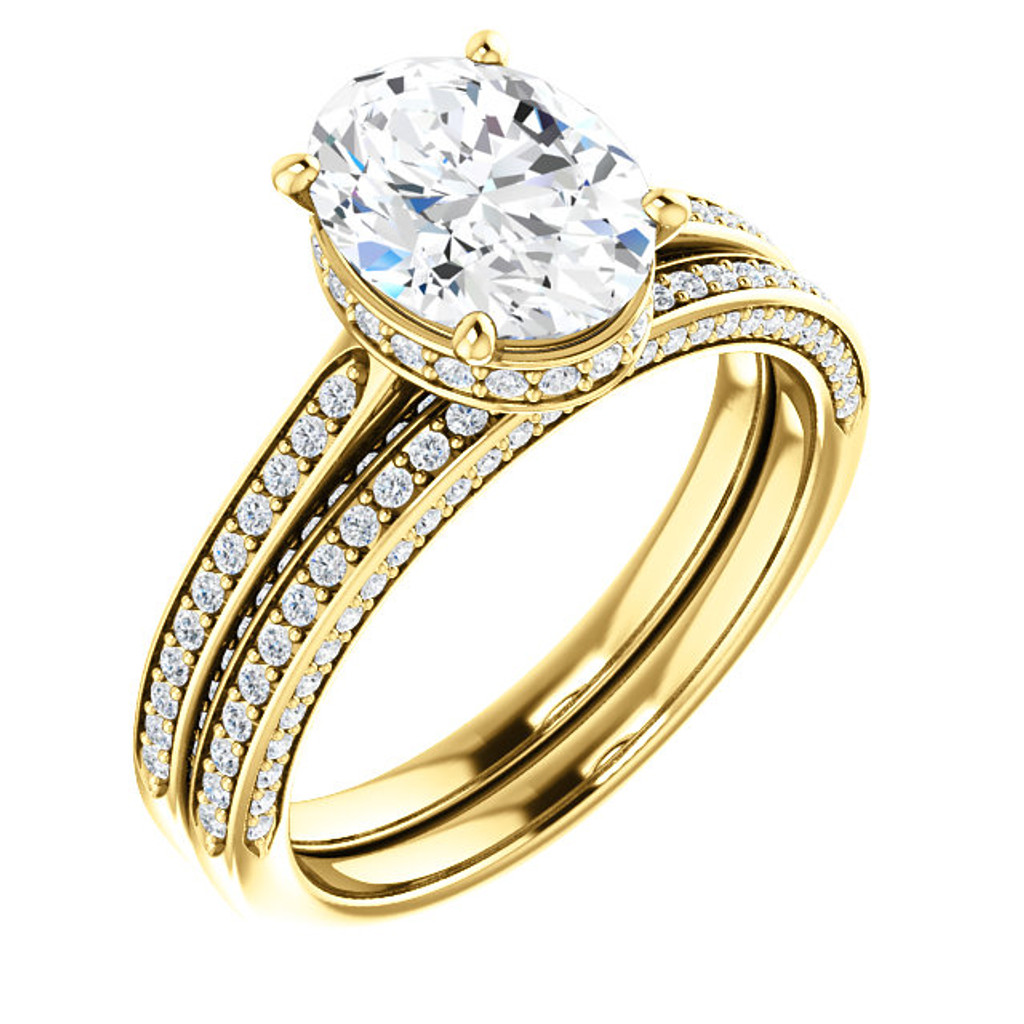 Brilliant 2 Carat Oval Cubic Zirconia Hidden Halo Engagement Ring & Matching Band in Solid 14 Karat Yellow Gold