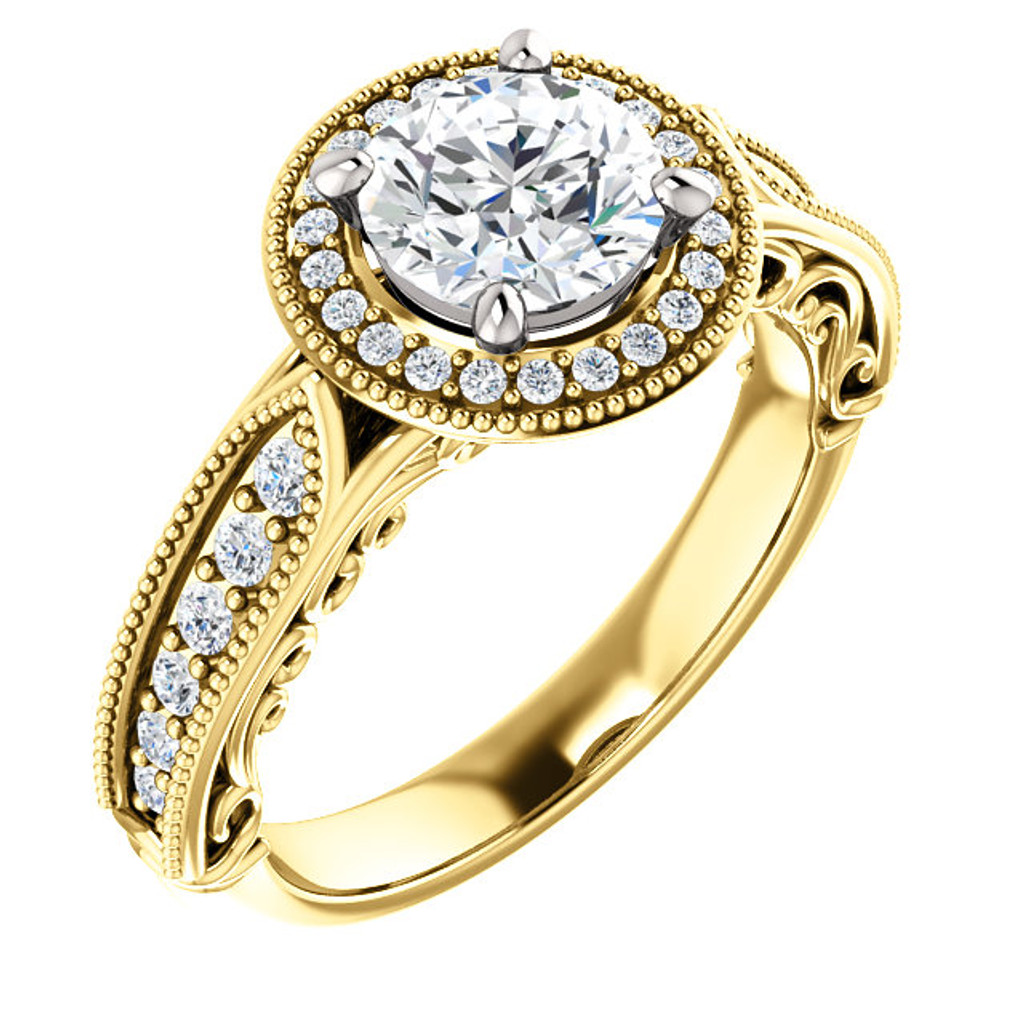 Brilliant Round Cubic Zirconia Estate Style Engagement Ring in Solid 14 Karat Yellow Gold with White Gold Stone Setting