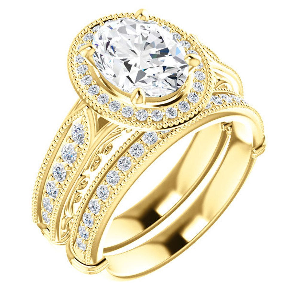 Beautiful 2 Carat Oval Cubic Zirconia Estate Style Wedding Set in Solid 14 Karat Yellow Gold
