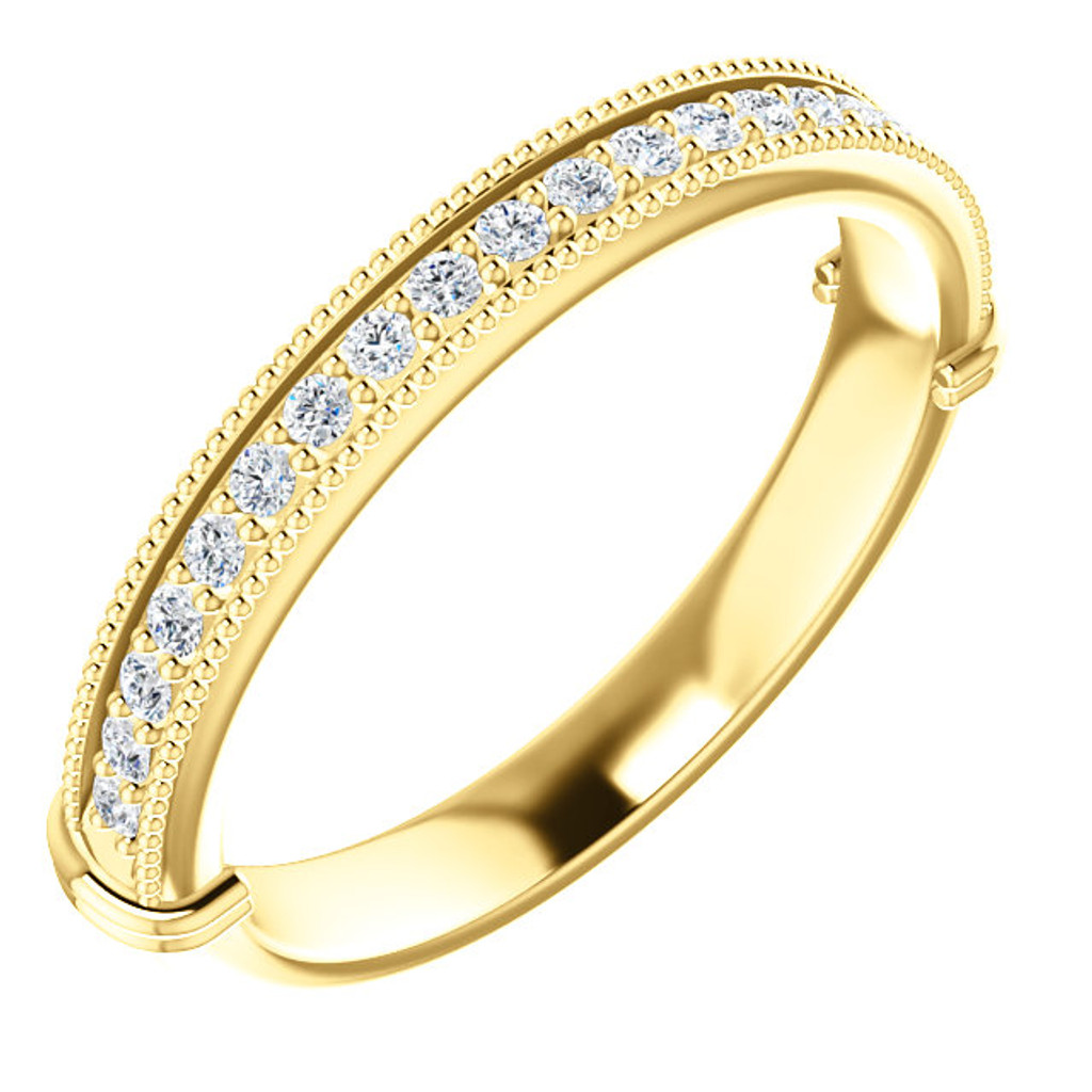 Beautiful Cubic Zirconia Wedding Band in Solid 14 Karat Yellow Gold