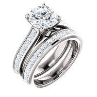 Flawless 2 Carat Round Cubic Zirconia Channel Set Engagement Ring & Matching Band in Solid 14 Karat White Gold