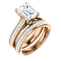 Flawless 2 Carat Emerald Cut Cubic Zirconia in Solid 14 karat Rose Gold