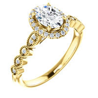 Hand Cut & Polished Oval CZ Engagement Ring in Solid 14 Karat Yellow Gold