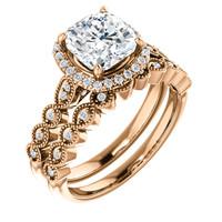 Beautiful 2 Carat Cushion Cut Cubic Zirconia Wedding Set in Solid 14 Karat Rose Gold