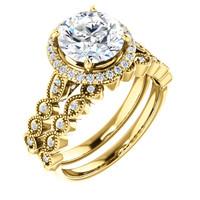 Stunning 2 Carat Round Cubic Zirconia Engagement Ring & Matching Band
