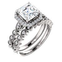 Gorgeous 2 Carat Asscher Cut Cubic Zirconia Engagement Ring & Matching Band in Solid 14 Karat White Gold