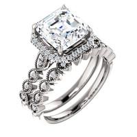 Flawless 3 Carat Asscher Cut Cubic Zirconia Engagement Ring & Matching Band