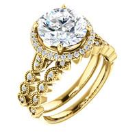 Flawless 3 Carat Round Cubic Zirconia Wedding Set in Solid 14 Karat Yellow Gold