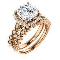 Stunning 3 Carat Cushion Cut Cubic Zirconia Wedding Set in Solid 14 Karat Rose Gold