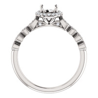 Beautiful Solid 14 Karat White Gold Engagement Ring With Your Choice of Center Stone