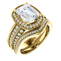 Flawless 2 Carat Emerald Cut Cubic Zirconia Wedding Set in Heavy Solid 14 Karat Yellow Gold