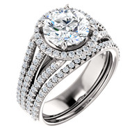 Flawless 2 Carat Round Cubic Zirconia Wedding Set in Solid 14 Karat White Gold