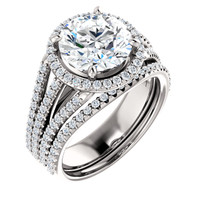 Brilliant 3 Carat Round Cubic Zirconia Wedding Set in Solid 14 Karat White Gold